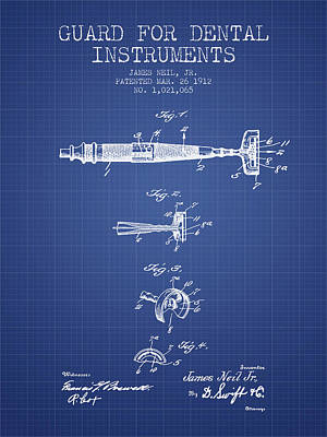 Dental Instruments Patent From 1912 -  Blueprint Print by Aged Pixel