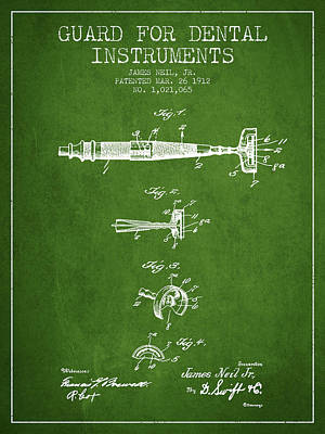 Dental Instruments Patent From 1912 - Green Print by Aged Pixel
