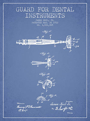 Dental Instruments Patent From 1912 - Light Blue Print by Aged Pixel