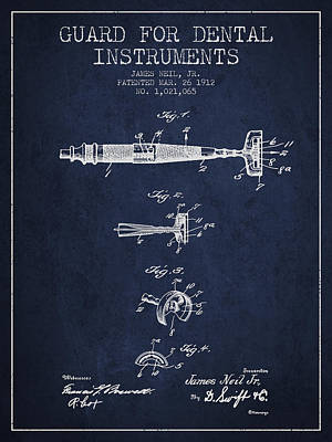 Dental Instruments Patent From 1912 - Navy Blue Print by Aged Pixel