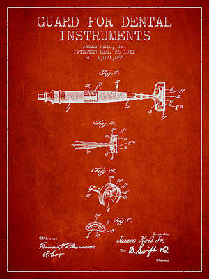 Dental Instruments Patent From 1912 - Red Print by Aged Pixel