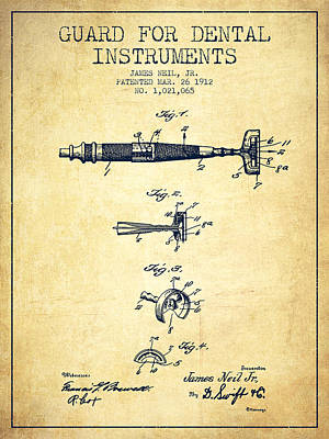 Dental Instruments Patent From 1912 - Vintage Print by Aged Pixel