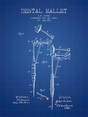 Dental Mallet Patent From 1881 - Blueprint Print by Aged Pixel