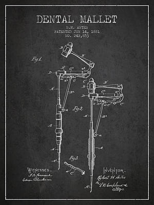 Dental Mallet Patent From 1881 - Charcoal Print by Aged Pixel