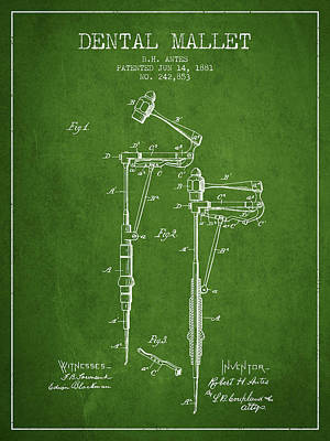 Dental Mallet Patent From 1881 - Green Print by Aged Pixel