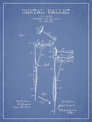 Dental Mallet Patent From 1881 - Light Blue Print by Aged Pixel