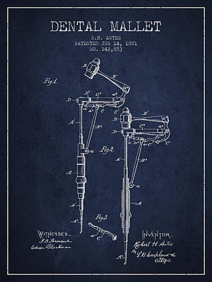 Dental Mallet Patent From 1881 - Navy Blue Print by Aged Pixel