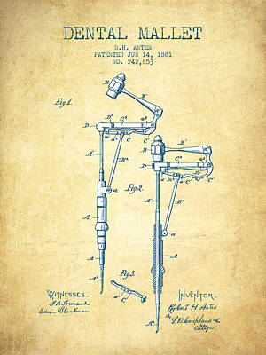 Dental Mallet Patent From 1881 - Vintage Paper Print by Aged Pixel