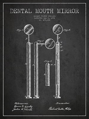 Dental Mouth Mirror Patent From 1892 - Dark Print by Aged Pixel