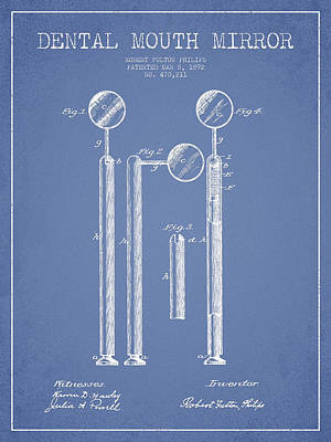 Dental Mouth Mirror Patent From 1892 - Light Blue Print by Aged Pixel