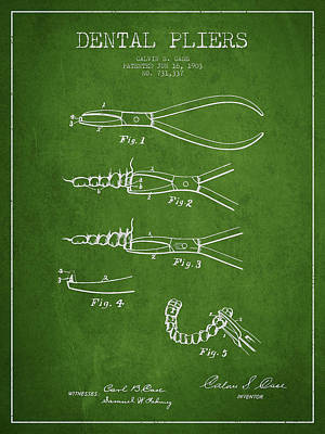 Dental Pliers Patent From 1903 - Green Print by Aged Pixel