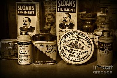 Dds Photograph - Dentist  -  Tooth Powder And More In Black And White by Paul Ward