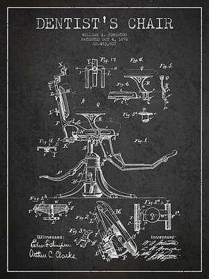 Surgery Drawing - Dentist Chair Patent Drawing From 1892 - Dark by Aged Pixel
