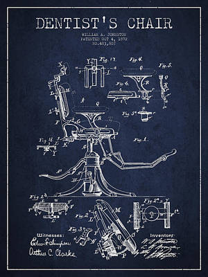 Surgery Drawing - Dentist Chair Patent Drawing From 1892 - Navy Blue by Aged Pixel
