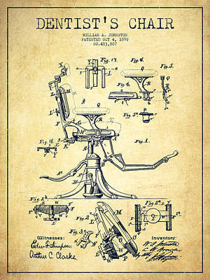 Surgery Drawing - Dentist Chair Patent Drawing From 1892 - Vintage by Aged Pixel