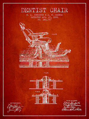 Dentist Chair Patent From 1886 - Red Print by Aged Pixel