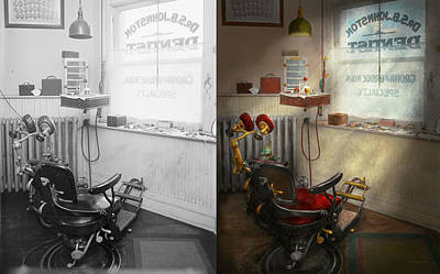 Window Signs Photograph - Dentist - S.b. Johnston Dentist 1919 - Side By Side by Mike Savad