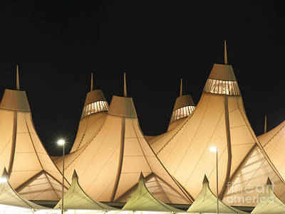 International Airport Photograph - Denver Airport At Night by Juli Scalzi