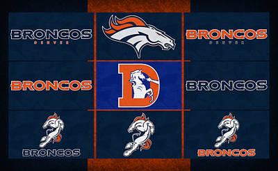 Denver Broncos Uniform Patches Print by Joe Hamilton