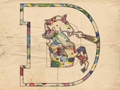 Mustang Painting - Denver Broncos Vintage Art by Florian Rodarte