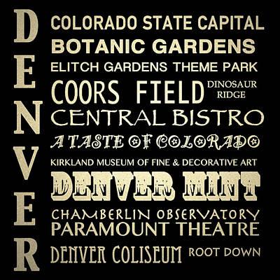 Denver Colorado Famous Landmarks Print by Patricia Lintner