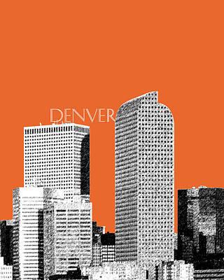 Denver Skyline - Coral Print by DB Artist
