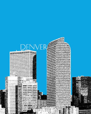 Pen Digital Art - Denver Skyline - Ice Blue by DB Artist