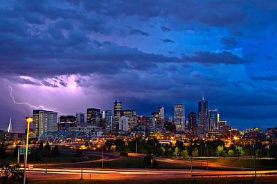 Lightning Photograph - Denver Skyline by John K Sampson