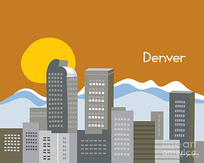 Rocky Digital Art - Denver Skyline Print by Karen Young