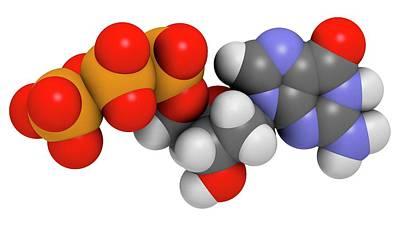 Deoxyguanosine Triphosphate Molecule Print by Molekuul