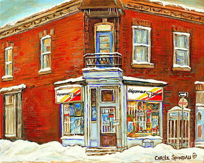 Montreal Winter Scenes Painting - Depanneur 7 Jours After The Snowstorm Verdun Scene Montreal Winter Streets Paintings Carole Spandau  by Carole Spandau