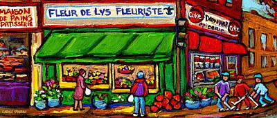 Epicerie Painting - Depanneur Coca Cola Marche Fleuriste Maison De Pain Montreal Street Hockey Scenes Quebec Art  by Carole Spandau