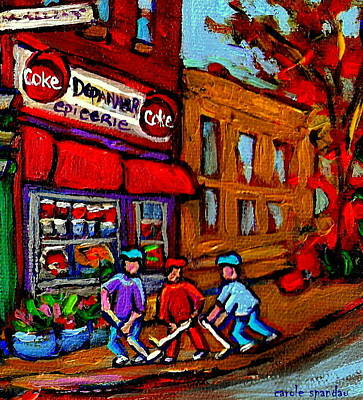 Depanneur  Marche Epicerie Montreal Summer Street Hockey Painting South West City Scene Print by Carole Spandau