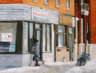 Quebec Streets Painting - Depanneur Marche Fortier Verdun by Reb Frost