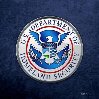 Department Of Homeland Security - D H S Emblem On Blue Velvet Print by Serge Averbukh