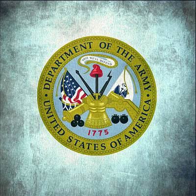 Basic Mixed Media - Department Of The Army Seal On Canvas by Dan Sproul
