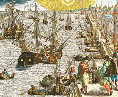Sun Rays Painting - Departure From Lisbon For Brazil by Theodore de Bry