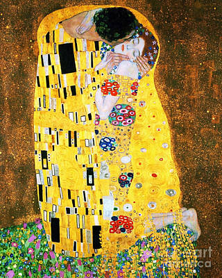 Pd Painting - Der Kuss Or The Kiss By Gustav Klimt by Pg Reproductions