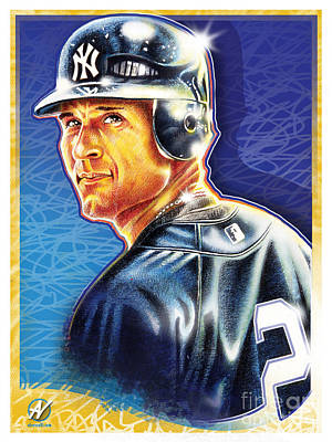 Derek Jeter Painting - The Captain by Al Vesselli
