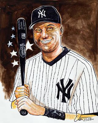 Yankees Drawing - Derek Jeter 2014 All Star Game by Dave Olsen