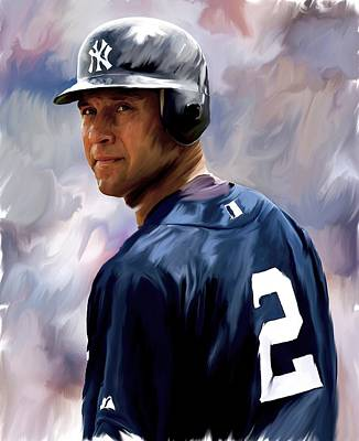 Athletes Drawing - Derek Jeter  by Iconic Images Art Gallery David Pucciarelli