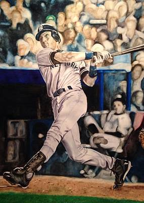 Major League Baseball Painting - Derek Jeter by Lance Gebhardt