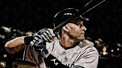Jeter Painting - Derek Jeter On Canvas by Florian Rodarte