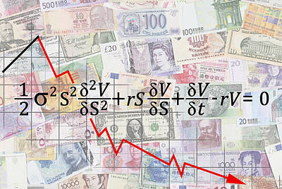 Financial Digital Art - Derivatives Financial Debacle - Black Scholes Equation by Daniel Hagerman
