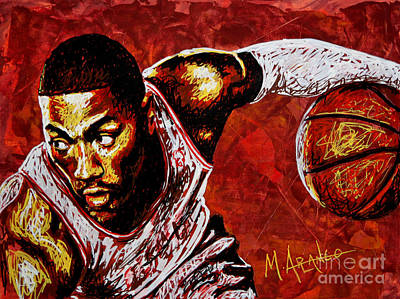 Basketball Painting - Derrick Rose by Maria Arango