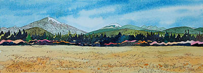 Watercolor With Pen Painting - Deschutes River View by Terry Holliday