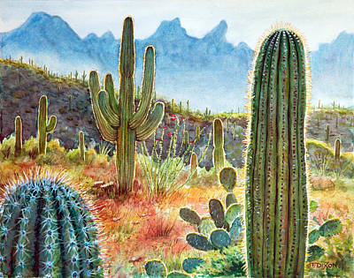 Saguaro Cactus Painting - Desert Beauty by Frank Robert Dixon
