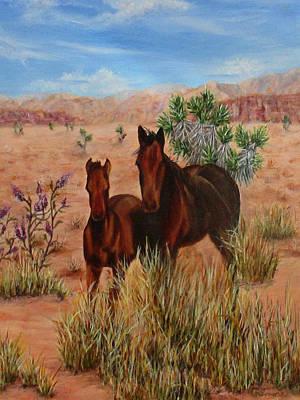 Desert Horses Print by Roseann Gilmore