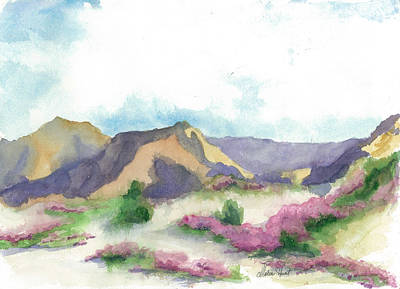 Verbena Painting - At Home In The Bloomin' Desert   by Maria Hunt