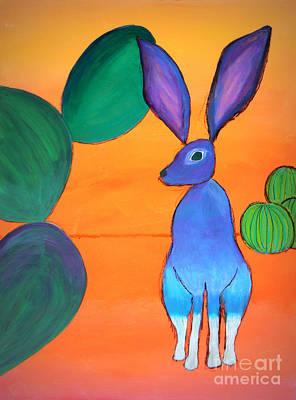 Barrel Painting - Desert Jackrabbit by Karyn Robinson